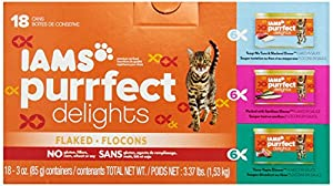 Iams Purrfect Delights Tempt Me Tuna and Mackerel Dinner, Packed with Sardines Dinner, Tuna-Topia Dinner Cat Food, 3-Ounce