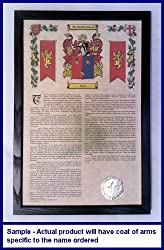 Pillow Armorial History with Coat of Arms on 11 x 17 Parchment Paper in Solid Black Frame