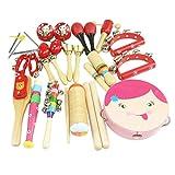 Happy cherry - (16 piezas) Juguetes de Instrumentos Musicales de Percusi�n madera Set Banda de m�sica Tambor Maracas Cascabeles regalo para beb�s ni�os ni�as - Rosa
