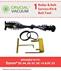Dyson DC07, DC14, DC33 Roller & Belt Service Kit With Belt Changing Tool Fits Dyson DC07, DC14 Upright Vacuums; Compare To Dyson Roller Part # 904174-01 & Belt Part # 05361-01-02, 02514-01-01, Belt Tool Part # 10-10000-08; Designed & Engineered By Crucial Vacuum