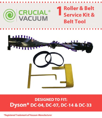 Dyson Dc07, Dc14, Dc33 Roller & Belt Service Kit With Belt Changing Tool Fits Dyson Dc07, Dc14 Upright Vacuums; Compare To Dyson Roller Part # 904174-01 & Belt Part # 05361-01-02, 02514-01-01, Belt Tool Part # 10-10000-08; Designed & Engineered By Crucial