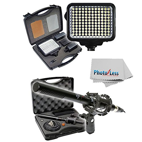 Vidpro 23 Piece Professional Digital Photo Video & Broadcast Unidirectional Condenser Shotgun Microphone And Pro 120 Leds High Intensity Light Kit With Battery, Charger, Diffusers, Lens Cleaning Cloth & Case