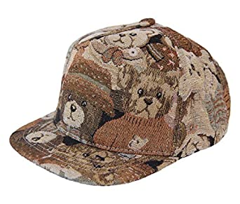 GP Accessories Teddy Bear Sparkle Short Brim Baseball Trucker Cap Large Brown