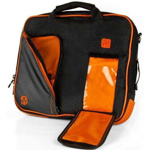 Vangoddy Pindar Sling - Black Neon Orange Pro Deluxe Shoulder Messenger Carrying Bag For Apple Macbook Air 11 Inch front-818509