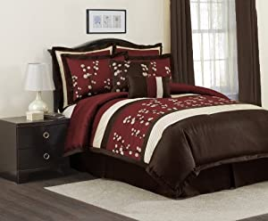 Lush Decor Cocoa Flower 8-Piece Comforter Set, King, Red