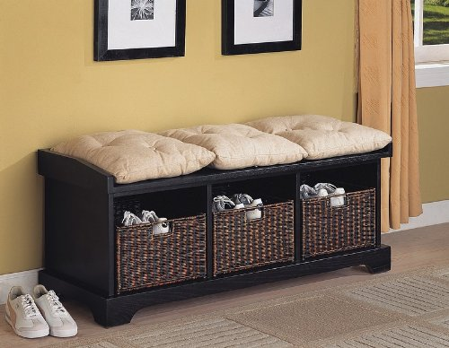 coaster-entryway-bench-with-storage-baskets-and-cushions-black