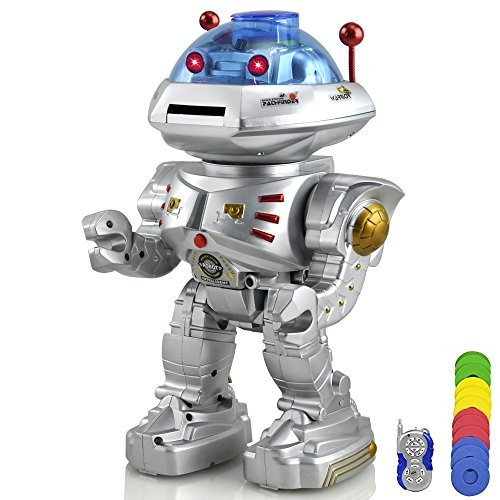 ELSKY RC Remote Control Robot - Talking Kids Toy Robot with Sound and Lights - Walking, Talking, Shooting RC Robot - Shoots Frisbees, Walks, Slides, Dances, Talks (Walking Shooting Robot compare prices)