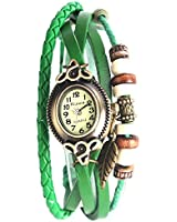 Yesurprise Montre quartz Vintage Avec pendentif Feuille Knitted Bracelet en cuir Classique Bronze cadran 6 couleurs -Vert foncé