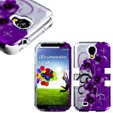 "myLife White - Purple Floral and Vine Design (3 Piece Hybrid) Hard and Soft Case for the Samsung Galaxy S4 ""Fits... by myLife Brand Products"