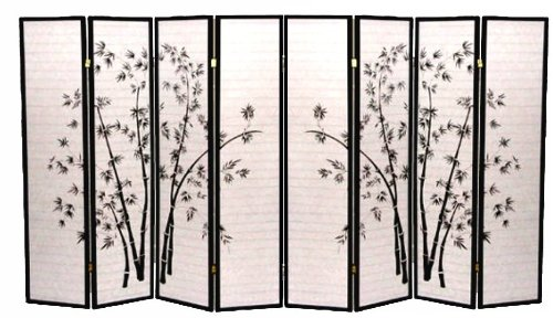 Best Price! Black Bamboo Print Oriental Shoji Screen / Room Divider (Bamboo, 8 Panel)