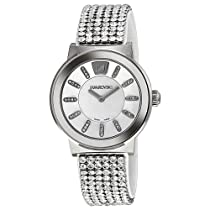 Swarovski White Crystal Dial Stainless Steel Brown Leather Unisex Watch 1094348