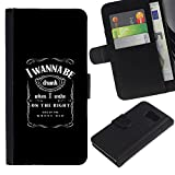 defensive PU Leather Flip Wallet design Cover BY RAYDREAMMM - Sony Xperia Z3 Compact - Funny - we WANNA BE DRUNK