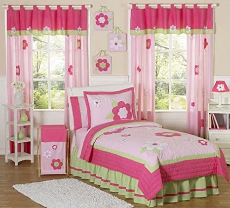 Pink and Green Flower Window Treatment Panels
