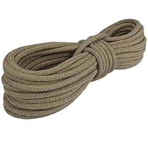 Hanfseil ø6mm 100m 16-fach Kernmantelgeflecht (mit Kern) glattes und helles Garn, polierte Qualität Natur Seil