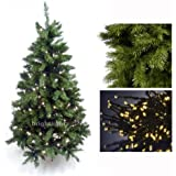 GREEN ARTIFICIAL CHRISTMAS TREE 6FT / 180CM + 10 METRE 100 LED FAIRY TWINKLE LIGHTS IN WARM WHITE ** HIGH QUALITY XMAS TREE PACKAGE - IDEAL FOR CHRISTMAS DECORATIONS, XMAS LIGHTS, ETC **
