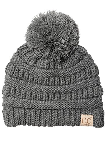 H-6847-21 Children's Pom Beanie - Melange Grey