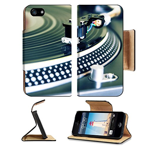 Liili Premium Apple iPhone 5 5S Flip Wallet Case Record player spinning the disc