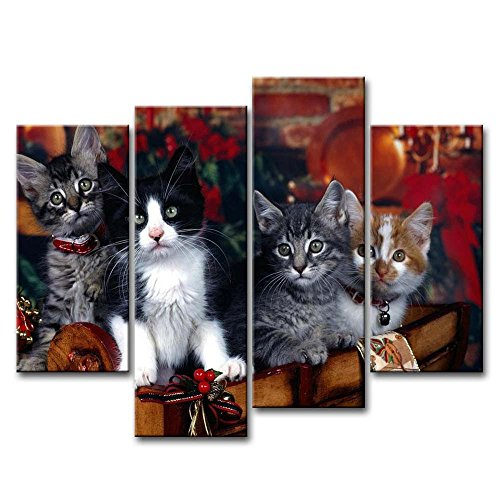 4 Piece Wall Art Painting Different Cats Pictures Prints On Canvas Animal The Picture Decor Oil For Home Modern Decoration Print