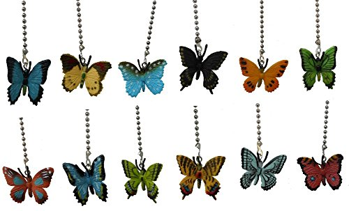 Assorted styles mini BUTTERFLY ceiling FAN PULL light chain small butterflies - SET of TWO (Fan Pull Chain Extension compare prices)