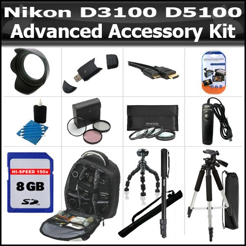 Accessory Bundle Kit For Nikon Df, D5200 D5300 D3200 D3100 D5100 Includes 8GB High Speed SD Memory Card + Deluxe BackPack Case + 57 Inch Tripod + 67″ Monopod + Gripster + Remote Shutter + Lens Hood + 3pc High Res Filter Kit + 4pc Close Up Filters + MORE