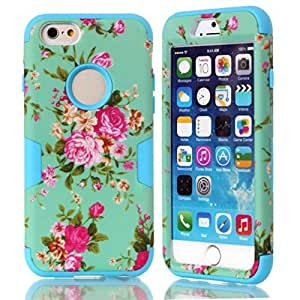 iPhone 6 Case MOUKOU(TM) Romantic Peony Hybrid Impact Case Silicone Cover for iphone6 4.7inch(P-Blue)