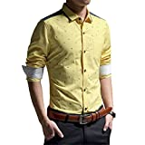 Long-sleeve Slim Fit Casual Shirt features classic collar, buttoned cuffs, stretch fabric. Brings you simple & effortless style along with Comfort. Also, It makes an Excellent Gift on any Occasion. Size Unit is Different and may runs saml...
