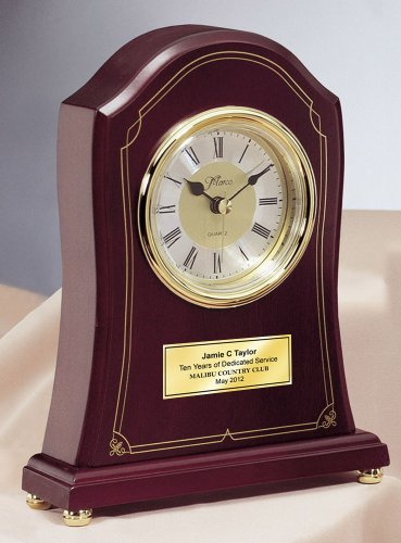 Personalized Elegant Rosewood Mantle Designer Clock with Gold Engraving Plate. This engraved award clock can be a retirement gift, wedding gift, anniversary present, employee recognition gift, service award or birthday gift.