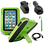 BIRUGEAR Green Leather Stand Case Cover with Stylus, USB Cable, Chargers for LeapFrog LeapPad Ultra Learning Tablet