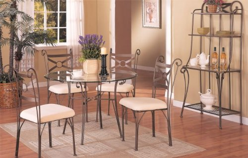 Cheap 5 PC. Set Round Dining Table with 8mm Beveled Glass Top and 4 High Back Fabric Seat Chairs (F2119)