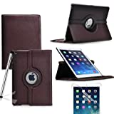 Eallc 360 Degree Rotating Smart Stand Leather Case Cover with Auto Sleep / Wake for iPad Air (2013 version)/ iPad 5 (5th Generation) (brown)