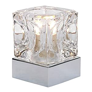 Modern Chrome Ice Cube Touch Table Lamp with Polished Chrome Base, 3 Light Levels by Lights4Living