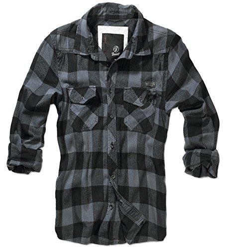 Brandit-Camicia da uomo flanella Check Shirt nero XXL