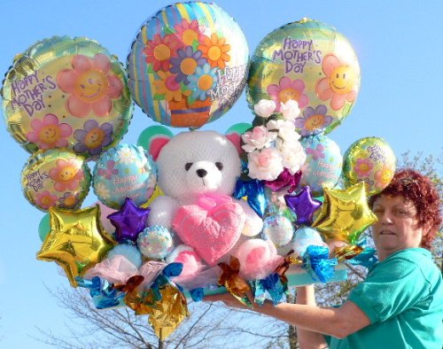 """GIANT 40"""" 3-FEET-LONG MOTHERS DAY BALLOONS AND TEDDY BEAR BOUQUET - 27 Total Balloons, Silk Flowers and Large Soft 17"""" Teddy Bear in ONE BIG ARRANGEMENT - ABSOLUTELY HUGE GIFT - DELUXE"""