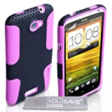 HTC One X Case Dual Combo Mesh Silicone Cover Black / Pink With Screen Protectorby Yousave Accessories