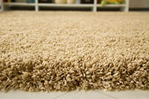 """Shaggy Rug Funny Luxus Beige Very Thick Soft Non Shedding High Pile, Size 60x115 cm (2'x3'8"""") by Steffensmeier"""