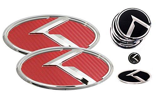 3D K Logo Emblem Red Carbon Fiber & Chrome Edition Set 8pc Front + Rear + Steering Wheel + Wheel Cap + Mini Sticker (Fit: KIA 2014-2016 Forte Koup , K3 Koup , Cerato Koup) (Kia Forte Emblem Red compare prices)