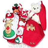 Baby&#039;s First Christmas Gift Basket - Includes Stocking, Toys, Blanket &amp; More