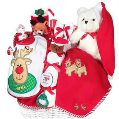 Baby's First Christmas Gift Basket - Includes Stocking, Toys, Blanket & More