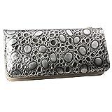 TinoTrade Travel Leather Wristlet Wallet Ladies Zip Around Purses (Silver)