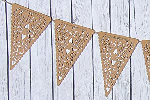 Kraft Paper Heart Lace Triangle Valentine Banner Pennant , 10 Piece Garland Bunting, 9 X 5.5 Inches by Creative Juice Cafe