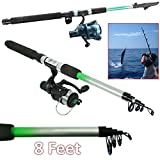Safekom 2 x 8ft Telescopic Fishing Rod And Reel Coarse Carp Fish Catching Travel Set UK