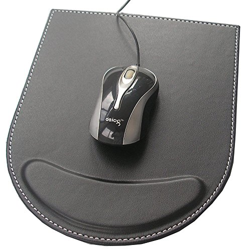 Kingfom™ Leather Mouse Pad Mice Pad Mat With Wrist Comfort Rest Computer Desk Accessories(Black)