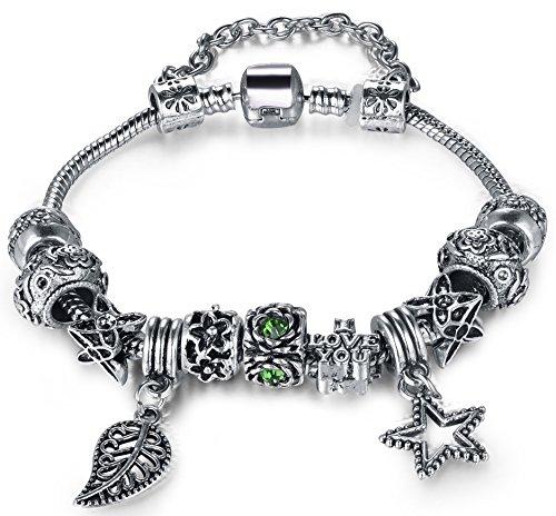 """Vintage Fiore Foglia stella """"Love You Verde Vetro Bead Accent Nero Perline fai da te europea Braccialetto per le donne ragazze, Floral, 19 cm"""