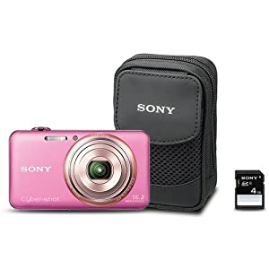 Sony Cyber-Shot DSC-WX70BDL 16.2MP CMOS Digital Camera with 4 GB Memory Card and Case (Pink) (2012 Model)