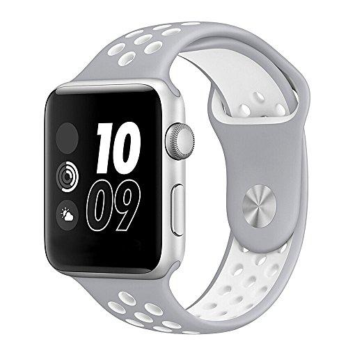 Apple Watch Bracelet, Bandmax iWatch Band Sport TPU Souple Confortable Strap Bracelet de Remplacement Course Léger pour Apple Watch Série 2/Série 1 (Argent pâle/Blanc, 42MM)
