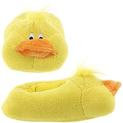 "Capelli New York ""Quack Duck"" Chamois Animal Head Ladies Indoor Slipper Yellow Combo X-small"