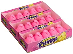 Marshmallow Peeps Pink Chicks, 4.5-Ounce, 15-Count Boxes (Pack of 6)