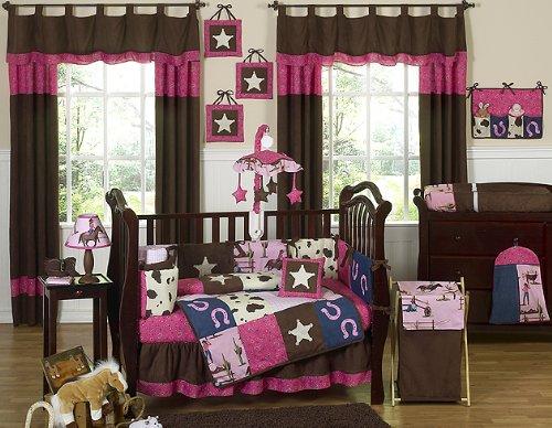 Western Horse Cowgirl Baby Bedding 9pc Crib Set