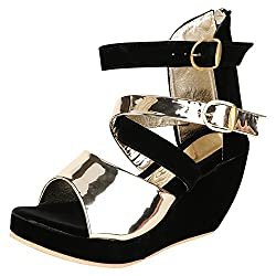 GRACETOP Women's Black and Gold Velvet Fashion Sandals - 38