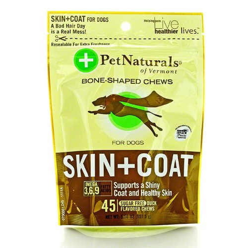 Pet Naturals Of Vermont Skin and Coat for Dogs Soft Chews 5.56-oz pouch 45-count